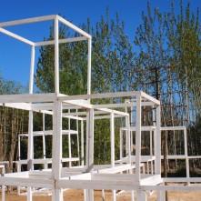 Les cubes du jardin ''Passage'' inspiré de l'œuvre de Schuiten