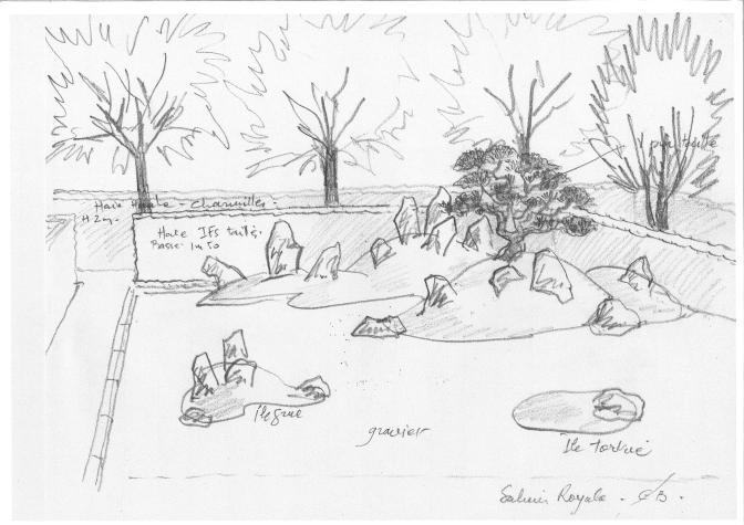 Croquis du projet de jardin zen à la Saline par Erik Borja