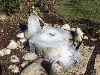 Fontaine gelée au jardin zen